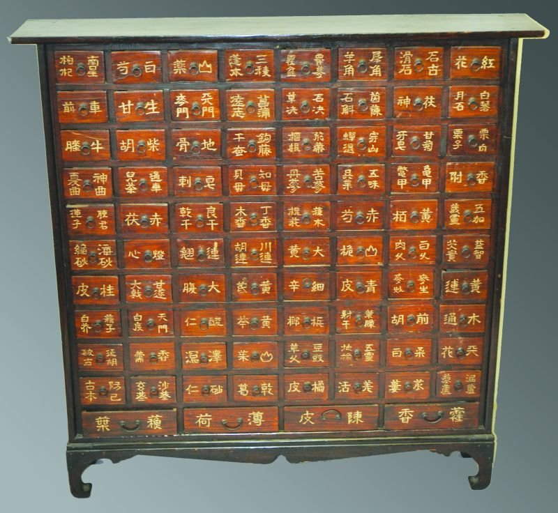 A CHINESE NARROW STANDING SPICE CABINET, of eight rows