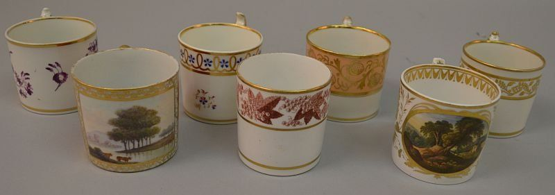 AN EARLY 19TH CENTURY COALPORT COFFEE CAN, painted with