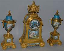 A SUPERB 19TH CENTURY FRENCH ORMOLU AND SEVRES THREE