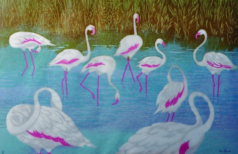 Kay Spink (20th Century) British. 'Flamingo's',