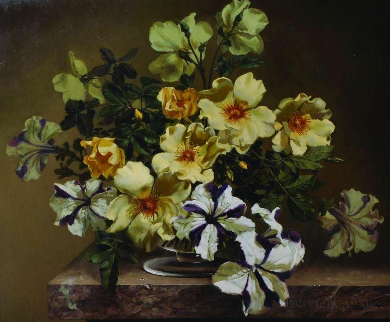 Bennett Oates (1928-2009) British. 'Roses & Petunias',