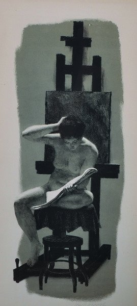 "Joseph Hirsch (1910-1981) American. ""Model & Easel"