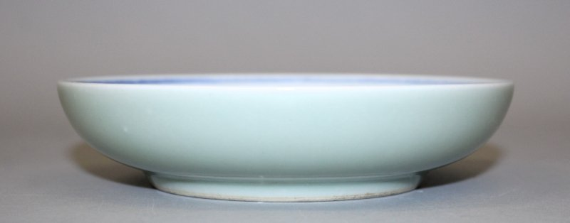 A GOOD QUALITY CHINESE BLUE & WHITE PORCELAIN DISH,