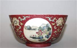 A CHINESE FAMILLE ROSE PORCELAIN MEDALLION BOWL