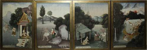 A SET OF FOUR GOOD QUALITY 19TH20TH CENTURY FRAMED