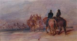 20th Century English School Figures of Horseback Oil
