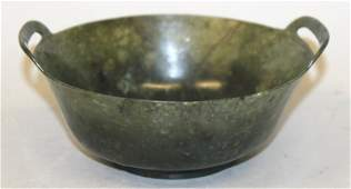 A CHINESE SPINACH GREEN JADELIKE BOWL the rim with