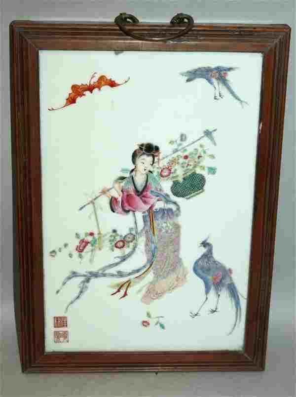 A CHINESE WOOD FRAMED FAMILLE ROSE PORCELAIN PLAQUE,