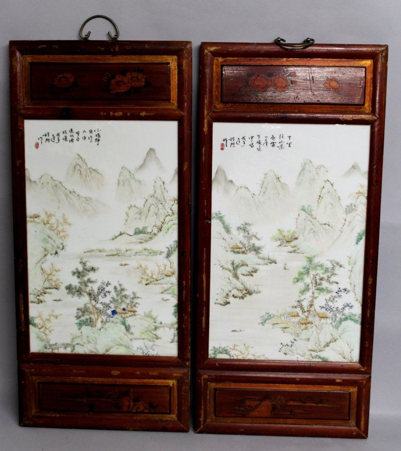 A LARGE PAIR OF CHINESE WOOD FRAMED PORCELAIN PLAQUES,