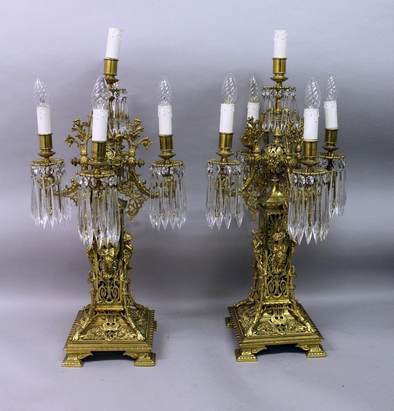 A SUPERB PAIR OF FRENCH BRASS FIVE LIGHT CLASSICAL
