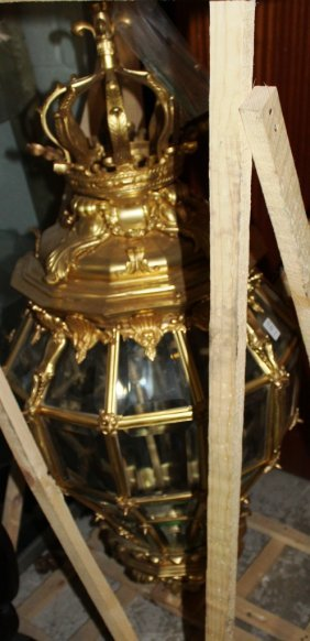 A Good Large Gilt Metal And Glass Lantern With Bevelled