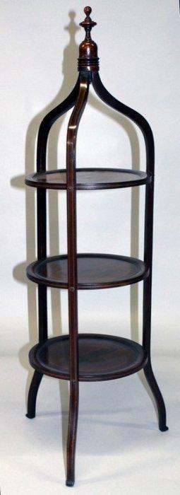 A Mahogany Inlaid Circular Three Tier Cake Stand.