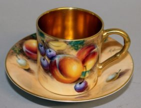 A Royal Worcester Fruit Painted Coffee Can And Saucer,