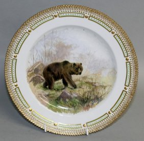 A Royal Copenhagen Plate Painted With A Grizzly Bear