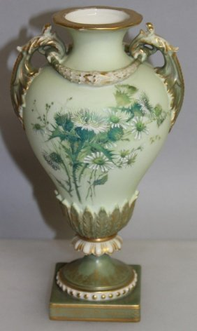 A Royal Worcester Two Handled Vase Painted With Flowers