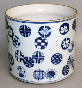 A Large Chinese Blue & White Porcelain Brushpot, The
