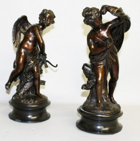 A Superb Pair Of 19th Century French Bronze Cupids, One