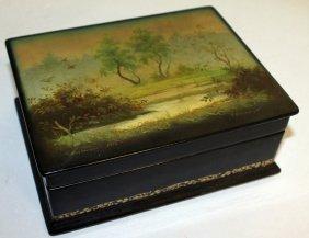 A Russian Papier Mache Rectangular Box, The Lid Painted