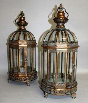A Pair Of Copper Circular Lanterns. 2ft High.