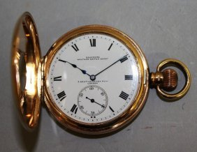 A 9ct Gold Half Hunter Pocket Watch With Nineteen