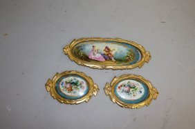 Three Sevres Painted Porcelain Plaques.