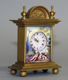 A Good Small French Gilt Bronze And Enamel Clock, The