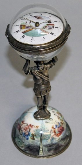 A Good Vienna Enamel And Silver Clock, A Girl Holding