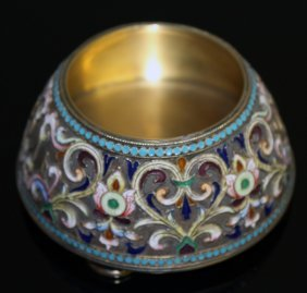 A Russian Silver And Enamel Circular Salt On Four