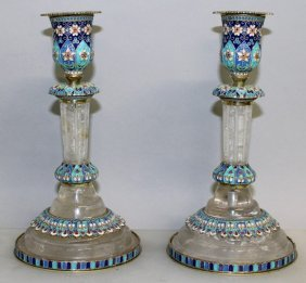 A Superb Pair Of Russian Rock Crystal And Enamel