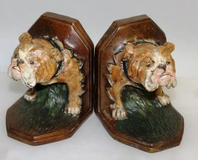 A Pair Of Cold Cast Bulldog Bookends. 12cms.