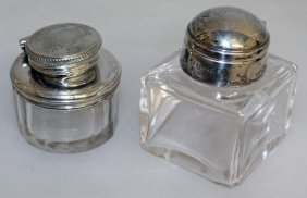 Two Silver Mounted Glass Inkwells.