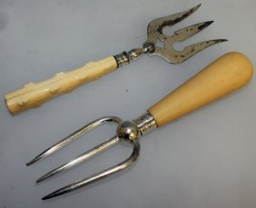 Two Ivory Handled Silver Three Prong Forks.
