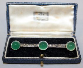 A Rose Diamond And Green Cabochon Chrysoprase Bar