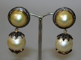 A Good Pair Of Double Pearl And Diamond Drop Earrings.