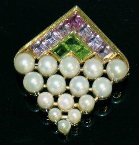 A Good Pearl, Peridot And Pink Stone Diamond Shaped