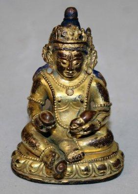 A Small Good Quality Sino-tibetan Bronze Figure Of
