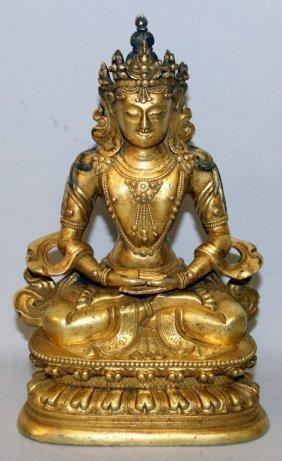 A Good Quality Sino-tibetan Gilt Bronze Figure Of