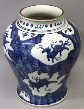 A Large Chinese Ming Style Blue & White Porcelain Vase,
