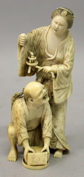 A Good Signed Japanese Meiji Period Ivory Okimono
