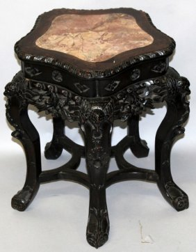 A 19th Century Chinese Marble Top Carved Hardwood