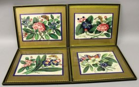 A Set Of Four 19th Century Framed Chinese Paintings On