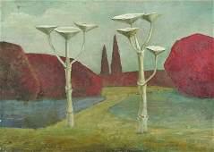 Brown 20th Century British A Surreal Landscape Oil
