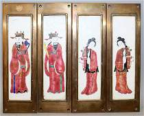 A SET OF FOUR CHINESE BRASS FRAMED CANTON ENAMEL