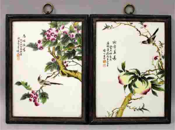 A PAIR OF CHINESE WOOD FRAMED PORCELAIN PLAQUES, each