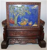 A GOOD QUALITY CHINESE HARDSTONE & WOOD TWO SECTION