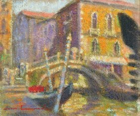 20th Century Italian School. A Venetian Canal Scene,