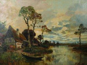 Alois Arnegger (1879-1963) Austrian. A River Landscape,