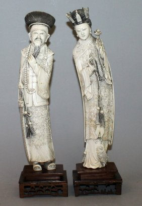 A Large Pair Of Early 20th Century Chinese Ivory