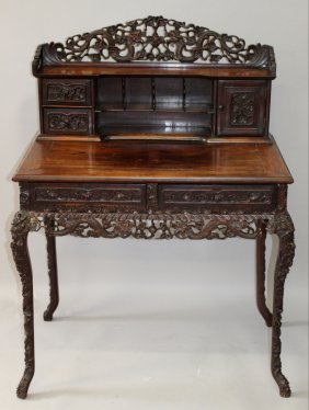 A Good 19th Century Chinese Hardwood Desk, With Pierced