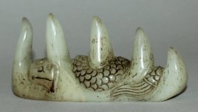 A Chinese Celadon Jade Brush Rest, Decorated With A